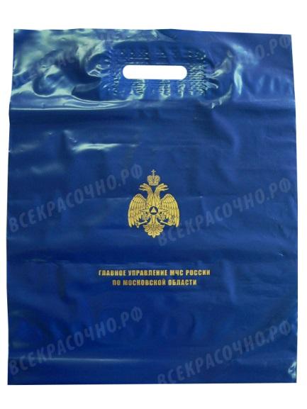 печать на синем пакете ПВД золотом